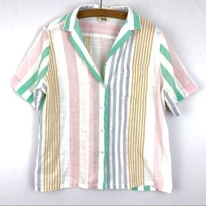 Vintage Sears Button Down Striped Linen Shirt